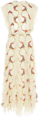 Costarellos Ruffled Embroidered Lace Dress