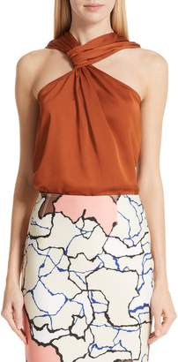 Yigal Azrouel Draped Hammered Satin Top