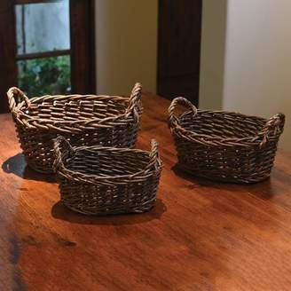 August Grove Oval 3 Piece Willow Basket Set