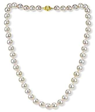 18k Yellow Gold 8-8.5mm AAAA Hand-Picked Japanese Akoya Cultured Pearl Ball Clasp Necklace