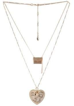 BCBGeneration Queen of Hearts Crystal Double Chain Necklace
