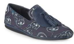 Salvatore Ferragamo Finnegan Moto-Print Tassel Loafers