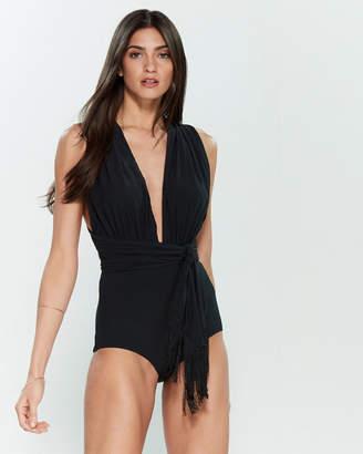 Michael Kors Black Wrap Belt One-Piece Swimsuit