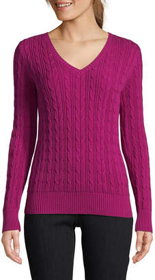 380555576 ST. JOHN S BAY Long Sleeve Cable V-Neck Pullover Sweater