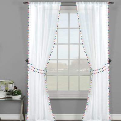 Wayfair Westport Solid Semi-Sheer Rod Pocket Panel Pair with Pom Pom Tie Back
