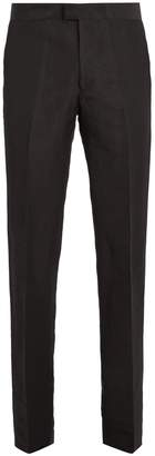 Wales Bonner Tuxedo contrast-panel linen-blend trousers