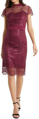 Lipsy Red Sequin Scallop Dress