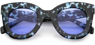 Cat Eye sunglassLA Women's Oversize Chunky Sunglasses Round Lens 46mm (Blue Black Marble / Blue)