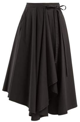 Lemaire Draped Cotton Midi Skirt - Womens - Dark Grey
