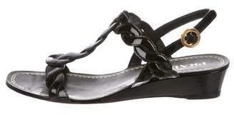 Prada Patent Leather Low-Heel Sandals