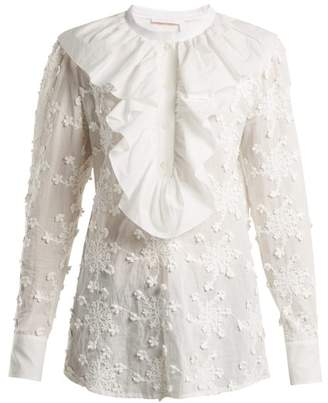 See by Chloe Ruffled Trim Embroidered Cotton Blouse - Womens - White