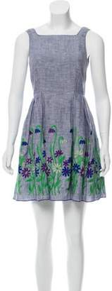 Anna Sui Embroidered A-Line Dress Blue Embroidered A-Line Dress