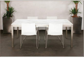 Lillia Long Steel Frame & Glass Dining Table Finish: Sapphire White Glass