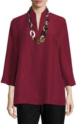 Eileen Fisher 3/4-Sleeve High-Collar Doupioni Silk Blouse, Plus Size