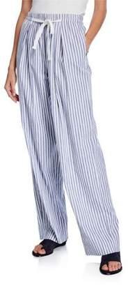 Vince Space-Dye Striped Wide-Leg Drawstring Pants