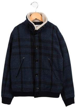 Burberry Girls' Shearling-Accented Wool Jacket