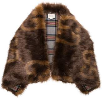 Gucci brown GG logo print faux fur stole