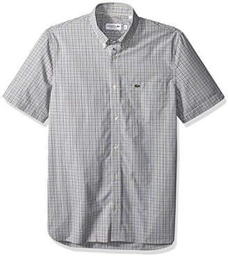Lacoste Men's Short Sleeve Poplin Mini Check Collar Reg Fit Woven Shirt