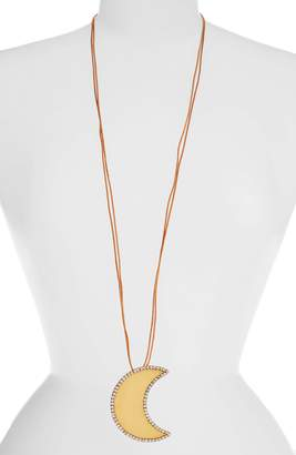 Tory Burch Crescent Moon Crystal Pendant Necklace