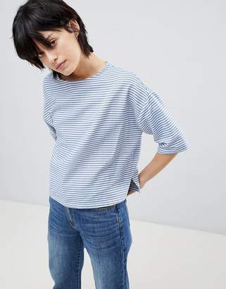 Paisie Boxy Striped Top with Three Quarter Sleeves