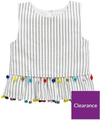 Very Girls Striped Pom Pom Vest Top - Multi
