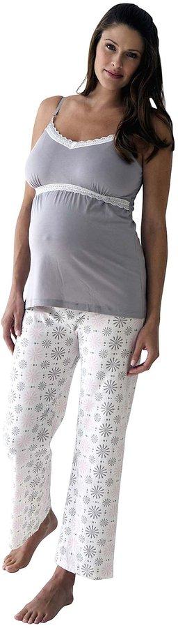 Belabumbum Starlit Nursing Cami & Pant - White, Pink & Grey Print-Small