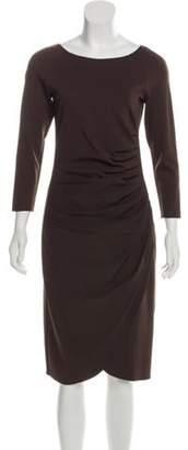 Armani Collezioni Pleated Bodycon Dress Brown Pleated Bodycon Dress