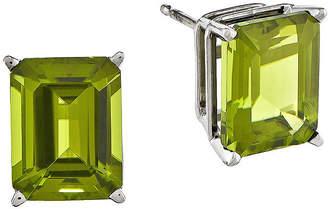 FINE JEWELRY Genuine Peridot 14K White Gold Emerald-Cut Earrings