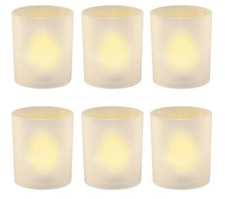 Lumabase LumaBase Frosted Plastic Amber LED Candle 6-piece Set
