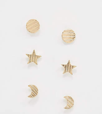 NY:LON multipack stud earrings in moon and star