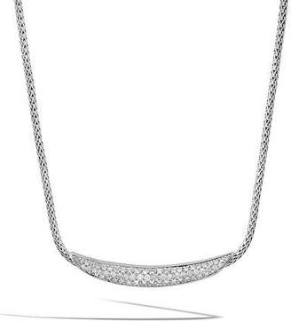 John Hardy Classic Chain Arch Silver Diamond Pave Necklace, 18""