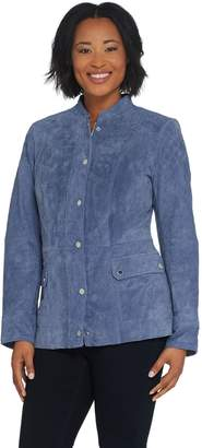 Isaac Mizrahi Live! Suede Field Jacket with Flap Pockets