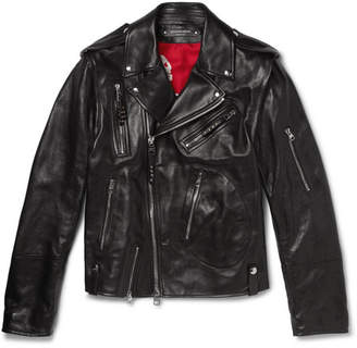 Alexander McQueen Slim-Fit Leather Biker Jacket