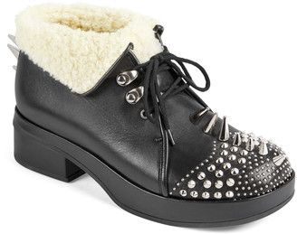 Gucci Victor Studded Faux Shearling Lined Bootie