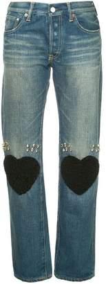 Tu Es Mon Trésor heart knee-patch straight jeans