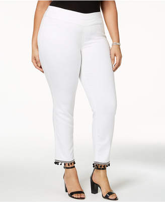 Style&Co. Style & Co Plus Size Pom-Pom Pull-On Pants, Created for Macy's