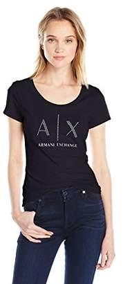 Armani Exchange A|X Women's Studded Logo Scoop Neck Jersey T-Shirt