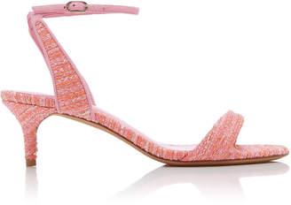 Alexandre Birman Willow Suede-Trimmed Tweed Sandals