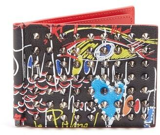 Christian Louboutin Clipsos Spike Embellished Leather Wallet - Mens - Black Multi