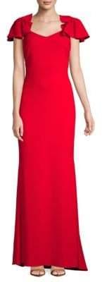 Badgley Mischka Flutter-Sleeve Gown
