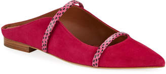 Malone Souliers Maureen Flat Mules in Suede, Pink