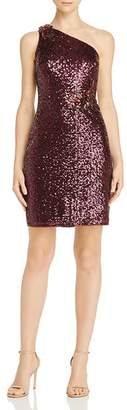 Aidan Mattox Sequin One-Shoulder Cocktail Dress