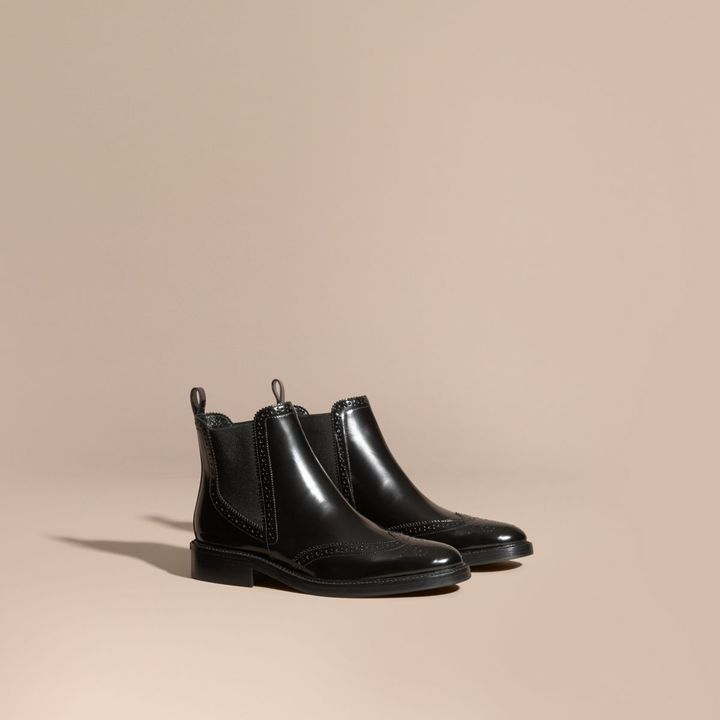 Burberry Leather Wingtip Chelsea Boots
