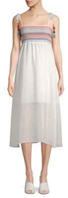 Red Carter Pippi Smocked Midi Dress