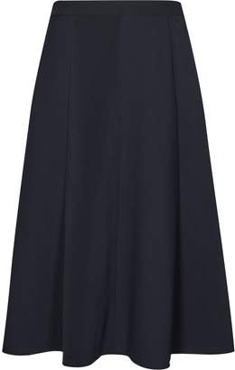 Reiss Bevan - Box-pleat Midi Skirt in Night Navy