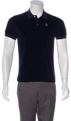 Opening Ceremony Embroidered Velour Polo Shirt