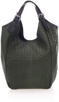 Giulia Massari Intrecciato Green Leather Hobo