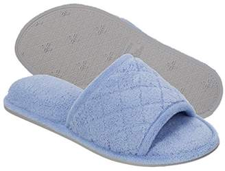 Dearfoams Indoor/Outdoor Women's Terrycloth Slide Slipper - Comfortable, Cushioned Slippers with Open-Toed Quilted Design
