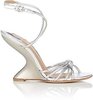 Salvatore Ferragamo Women's Sculpted-Heel Leather Ankle-Strap Sandals - Silver