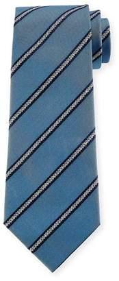 Emporio Armani Arrow Striped Silk Tie, Light Blue